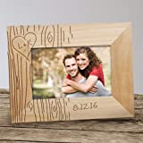 Engraved Tree Carving Wood 4x6 Frame, Free Personalization