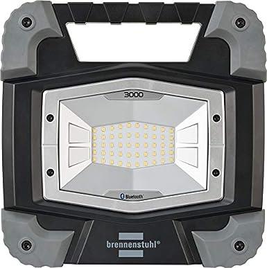 Steuerung per App, LED Arbeitsstrahler mit Steckdose und 5m Kabel, 5000lm, IP54 LED Baustrahler 46W f/ür au/ßen Brennenstuhl Mobiler Bluetooth LED Strahler TORAN 5000 MB