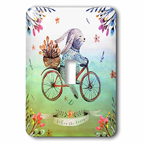 3dRose lsp_275592_1 Colorful Floral Watercolor Easter Illustration-Follow The Bunny Toggle Switch