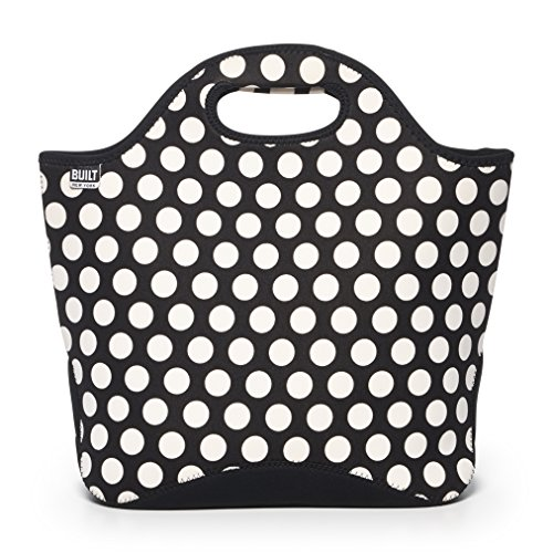 BUILT NY Market Neoprene Shopping Tote Bag, Big Dot Black & White