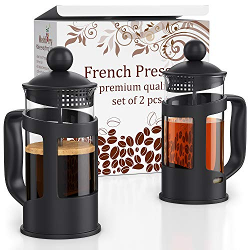 French Press Coffee Maker – Set of 2 pcs in Gift Box – 12oz(350ml) French Press Coffee & Tea Maker – 2 Cup Capacity – by…