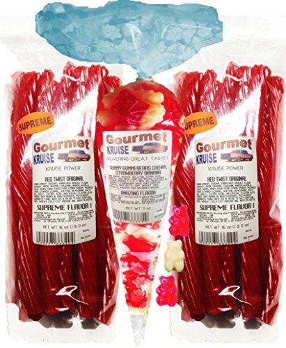Red Licorice Original Twist 2-1lb Bags (1) Red Wild Cherry White Strawberry Banana Gummi Gummy Bears 11OZ (NET WT 43 OZ) Gourmet Kruise Signature Gifts -