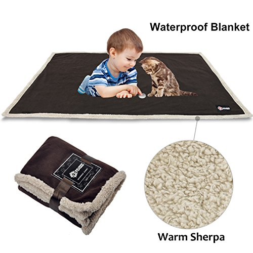 "Waterproof Dog Blanket,Premium Pet Puppy Cat Soft Fleece Sherpa Throws Blanket Cushion Mat for Car Seat Furniture Protector Cover Small 50"" x 30"" by Pawsse Brown"