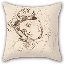 Oil Painting Richard Parkes Bonington - Study Of A Woman With Her Head On Her Hand Throw Cushion Covers 20 X 20 Inches / 50 By 50 Cm Best Choice For Pub Gf Gril Friend Home Theater Dinning Room Wi