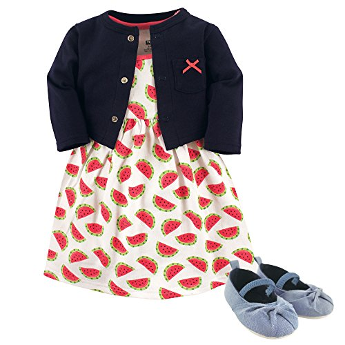Hudson Baby Girl Cardigan, Dress and Shoes, 3-Piece Set, Watermelon, 6-9 Months (9M)