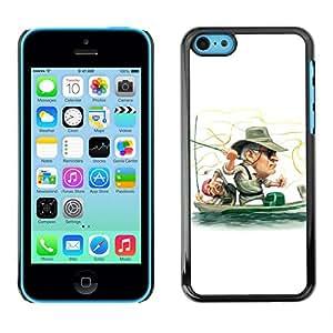 iPhone 5C - Metal de aluminio y de plástico duro Caja del teléfono - Negro - Funny Fisherman