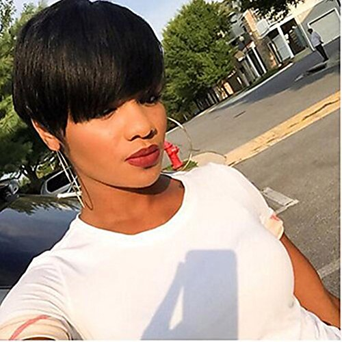 100% Real Human Hair Black Sexy Short Straight Ladies Wigs Layered female wigs for Black Women , Short Cut (Daily Costumes Pic)