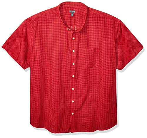 Van Heusen Men's Big and Tall Wrinkle Free Short Sleeve Button Down Check Shirt, Rusty Red, 3X-Large