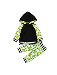 Staron  2pcs Baby Boys Hoodie Clothes Dinosaur Long Sleeves Tops+Pants Outfits Set