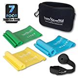 Super Exercise Band 7 ft Resistance Bands Set of 3. Ideal Fitness Gift Kit in Light, Medium, or...