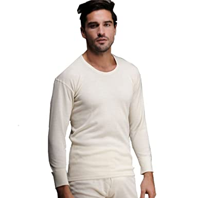 Men's Thermal Cream 100% Cotton (240 Gsm) Soft Long Sleeve Fitted ...