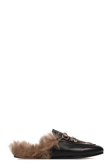 Gucci Femme 460813DKHH01063 Noir Cuir Mocassins  Amazon.fr ... d0a1f326685