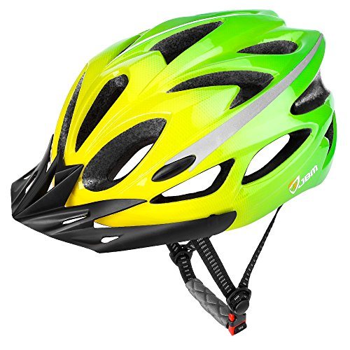 JBM Adult Cycling Bike Helmet Specialized for Mens Womens Safety Protection Red/Blue/Yellow (Gradient Green, Adult) (Dial Yellow Womens)