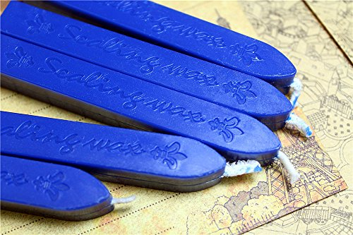 Manuscript Sealing Seal Wax Sticks Wicks for Postage Letter (5PCS navy blue)