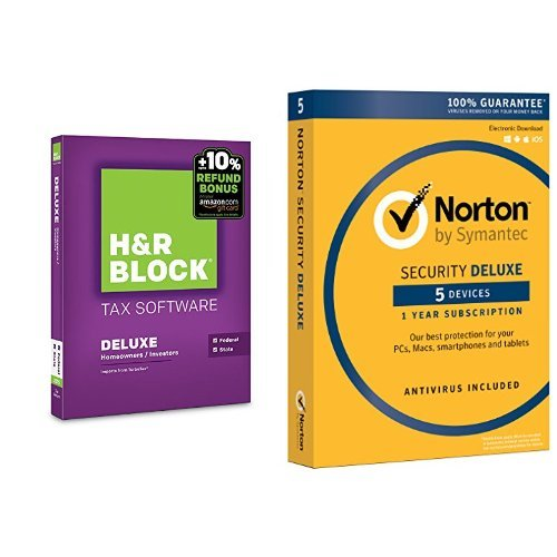 H&R Block 2015 Deluxe + State Tax Software + Refund Bonus Offer - PC/Mac Disc with Norton Security Deluxe - 5 Devices (Norton And H&r Block)