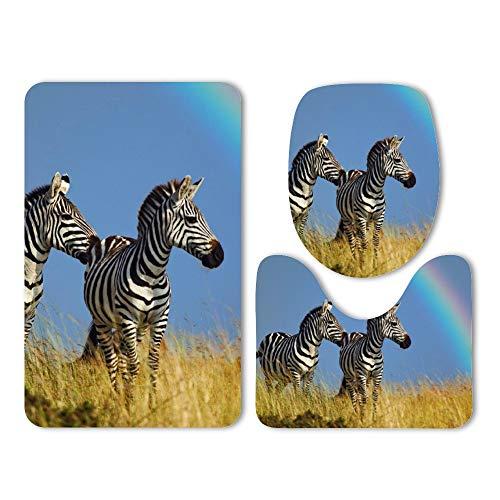 DKISEE 3 Piece Bathroom Mat Set Animal Zebra Rainbow Capture Washable Bath Rug Set Non Slip Carpet Bath Mat Set ()