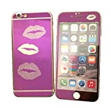 Dreams Mall(TM)Top Fashion Electroplating Mirror Effect with Lips Tempered Glass Screen Protector Film Decal Skin Sticker Front & Back for Apple iPhone 6 and 6S 4.7 inch-Purple
