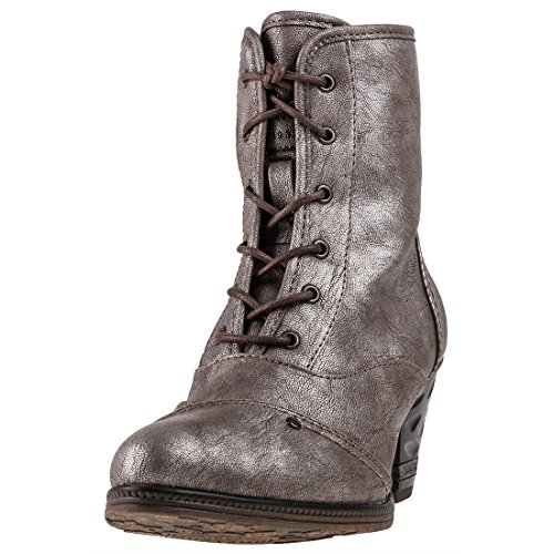 Bottines Metallic Femmes Heel High Mustang Shoe Titan 0xYvPwv8q