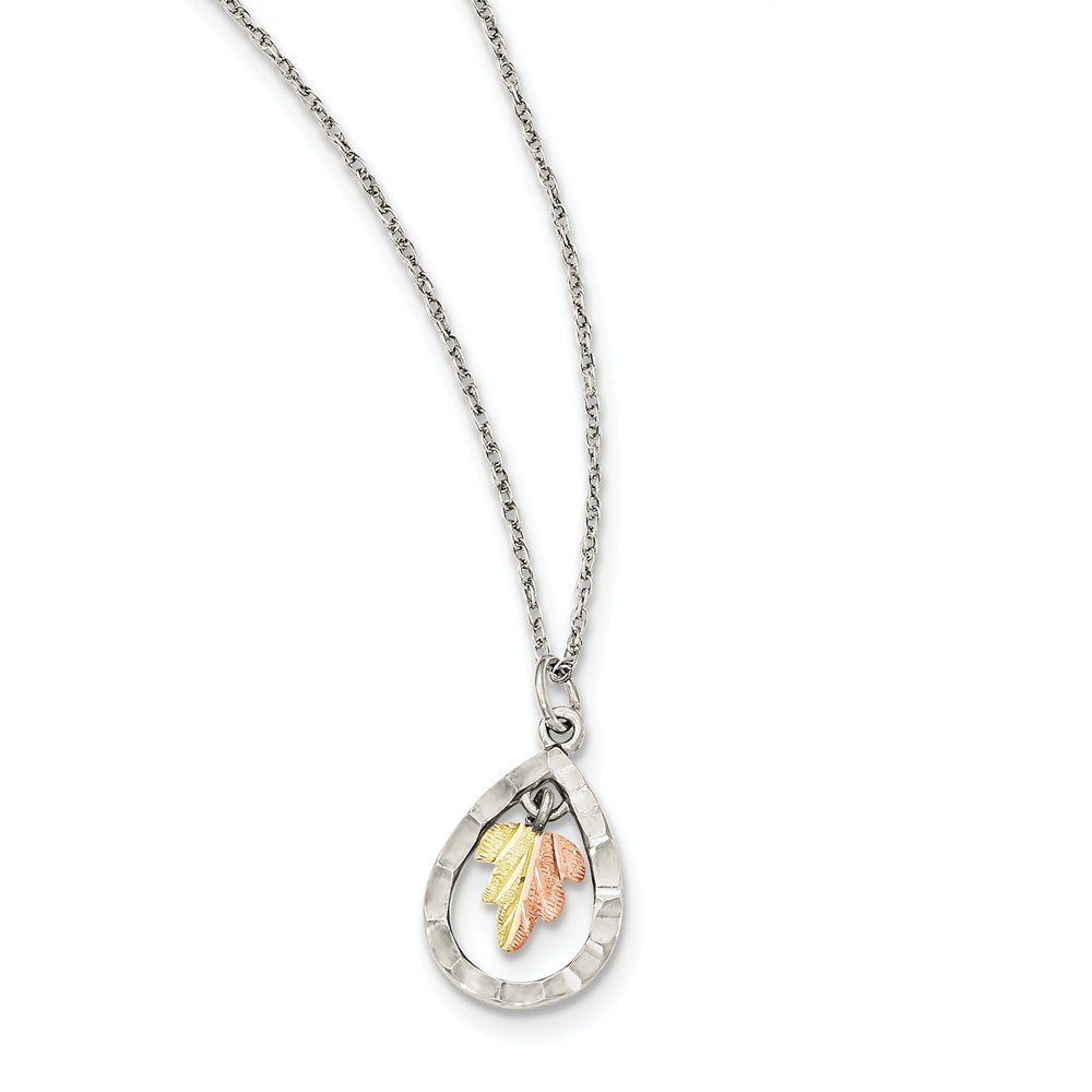 Sterling Silver 12K Teardrop Necklace 18 Inches