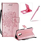 Strap Leather Case for Samsung Galaxy A6 Plus 2018,Bookstyle Magnetic [Rose Gold Solid Color] Stand Flip Case for Samsung Galaxy A6 Plus 2018,Herzzer Premium Elegant Butterfly Tree Cat Print Fold Wallet Folio Smart Case For Samsung Galaxy A6 Plus 2018 + 1 x Pink Cellphone Kickstand + 1 x Pink Stylus Pen