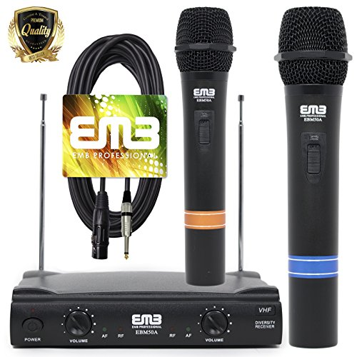 VHF Dual Wireless Microphone Handheld Professional HIFI EMB with XLR to 1/4 Cable Included - Perfect for Church/Home/Outdoor/Karaoke Party - 50APK10