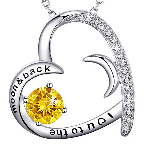 (Sterling Silver Necklace Jewelry Gifts for Women Yellow Citrine Love Hearts Half Moon Necklace Anniversary Birthday Gifts for Her Wife Grandma Granddaughter Girlfriend I Love You to the Moon and Back)