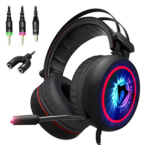 NEW 2018 Gaming Headset w/ 3.5mm and Y-Adapter -7.1 Best Surround Stereo Sound, Noise Cancelling Mic - Wired Soft Breathing Over-Ear Game Headphones – USB LED for PC, Xbox 360, One, PS3, PS4 (2)