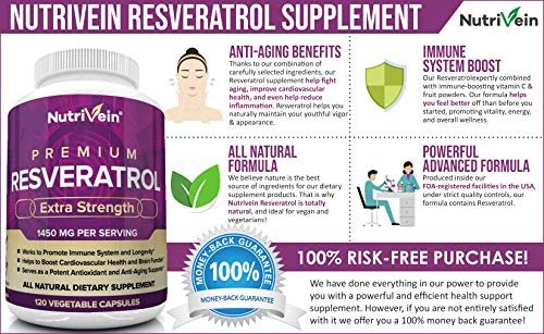 51cfrqZFcJL - Nutrivein Resveratrol 1450mg - Anti Aging Antioxidant Supplement 120 Capsules - Promotes Immune, Cardiovascular Health and Blood Sugar Support - Made with Trans-Resveratrol, Green Tea Leaf, Acai Berry