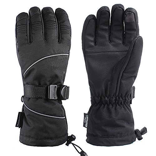 Unigear Ski Gloves, Waterproof Winter Snow Gloves with Sensitive Touchscreen Function (Black, X-Large)