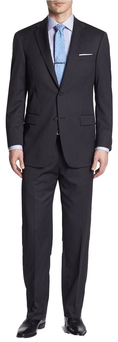 Hart Schaffner Black Pinstripe Two Button Double Pleated Wool New Men's Suit (39R 33W)