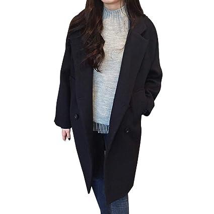Winkey - Abrigo para Mujer con Bolsillos sólidos y Doble Pecho, de Invierno, cálido