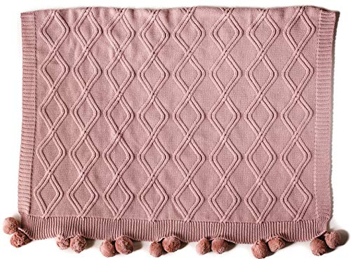 Baby Luxury Linens - Linen Perch Luxury Cable Knit Pom Pom Baby Nursery Blanket - Premium Baby Girl Shower Gift in Deluxe Gift Box - Unisex Cotton Knit Toddler Blanket - Baby Nursery Décor Blanket - 45 x 35 inches (Blush)