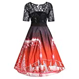 Yamally Christmas Half Sleeve Women Snow Trees Printed Lace Splicing Party Vintage Sexy Dress Clearance