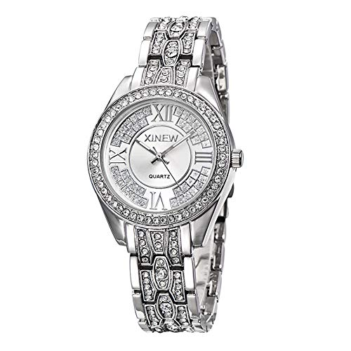 HHQHHQ Women Quartz Watches,Stylish Watch Diamond watchStainless Steel Watch Strap, Suitable for Lover, Lover, Friend, Sister,Silver ()