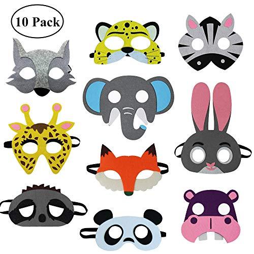 Felt-Animal-Masks for Kids Woodland-Costume Zoo-Party-Favors ()