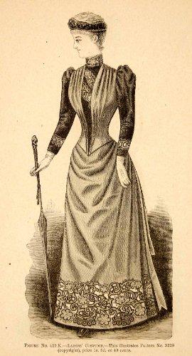 1890 Wood Engraving Portrait Victorian Woman Costume Clothing Dress Hat Umbrella - Original In-Text Wood (Victorian Costumes 1890)