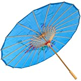 Partysanthe Handmade Chinese Cloth Floral Umbrella Wedding Dance Props Blue