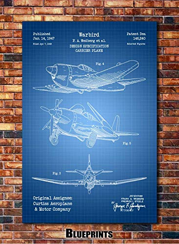 WWII Fighter Plane Patent Print Art 1947 (multiples sizes and colors ()
