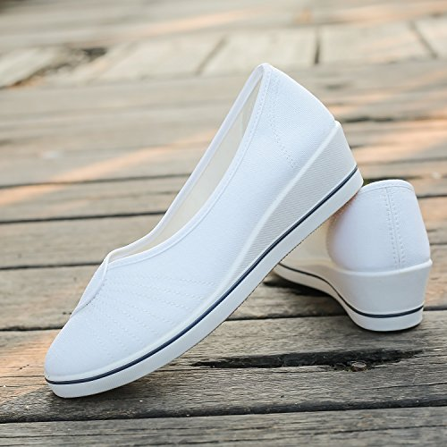 Elwow Women's Girl's Platform Slip On Loafers Comfort Low Wedge Heel Shoes Nurse Work Shoes White LuoR3A