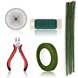 Koogel Floral Arrangement Kit,6 Pcs Floral Tools Wire Cutter Stem Wire Floral Wire 26 Gauge & 22 Gauge Wire Green Floral Tapes Ball Head Pins for Bouquet Stem Wrap Florist