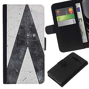 KLONGSHOP // Tirón de la caja Cartera de cuero con ranuras para tarjetas - Ruta Gris Gris Blanco Minimalista - Samsung Galaxy Core Prime //