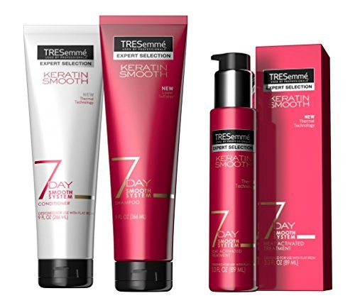 Tresemme Keratin 7 Day Smooth System: Shampoo, 9oz, Conditioner, 9oz, Heat Activated Treatment, 3oz (Bundle) by TRESemme
