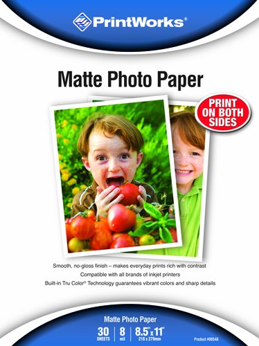 Printworks Matte Photo Paper, Double-Sided, 8 Mil, Inkjet, 30 Sheets, 8.5 x 11 Inch (00548) (20x30 Photo Paper)