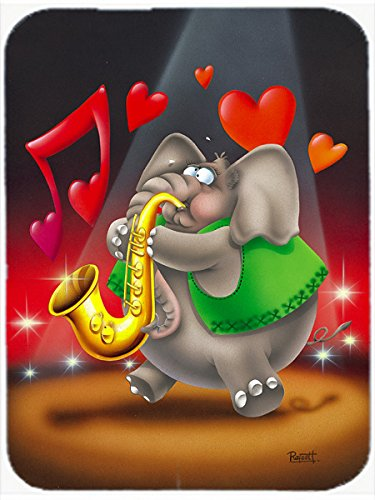 Large Carolines Treasures APH0250LCB Elephant Playing The Saxophone Glass Cutting Board Multicolor