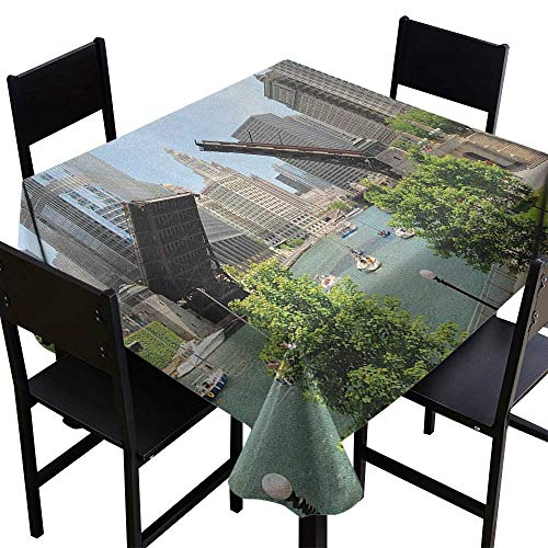 SKDSArts White Square Tablecloth United States,Downtown Chicago Illinois Finance Business Center Lake Michigan Avenue Bridge, Multicolor,W70 x L70 Square Tablecloth -