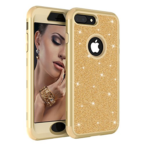 iPhone 7 Plus Case,iPhone 8 Plus Case, Ankoe Luxury Glitter Sparkle Bling Shiny Heavy Duty Hybrid Sturdy Armor Defender High Impact Shockproof Cover Case iPhone 7 Plus iPhone 8 Plus (Yellow/Gold)