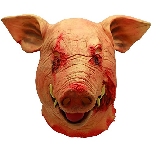 Scary Saw Pig Head Latex Mask Full Head Bloody Pig Animal Cosplay Costume Halloween Props (Bloody Saw Pig Mask) -