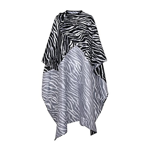 Yeefant Iron Buckle Collar Salon Cutting Hair Waterproof Adjusted Zebra Pattern Cloth Barber Gown Cape for Hairdressing Hairdresser Hair Dye, Perm, Easy to Clean and Lay Up -