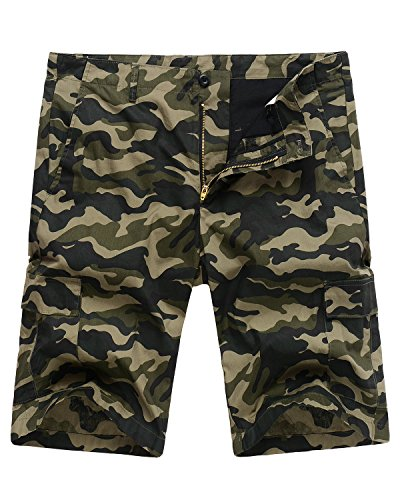 Hanmor Men's Casual Loose Fit Cotton Tactical Camouflage Cargo Shorts with Multi Pockets Woodland Camo 40 -