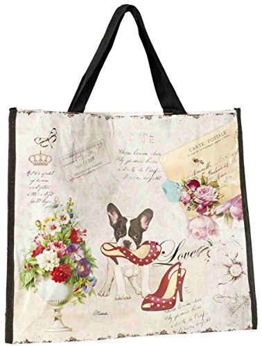 Clayre & Eef BAG170 Tasche Shopper Kunststoff Love Hund Schuhe ca. 42 x 37 cm
